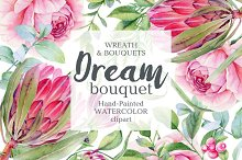 Watercolor wreath and bouquet