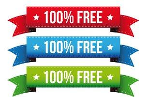 100 percent free ribbon set
