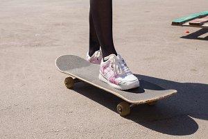 Girl and skateboard
