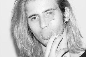 man male model smoking cigarette