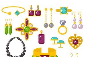 Flat jewelry stones vector