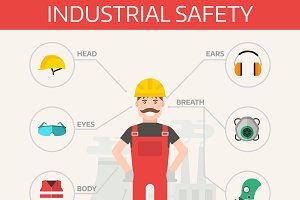 Safety industrial gear kit vector