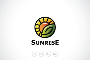 Leaf and Sunrise Logo Template