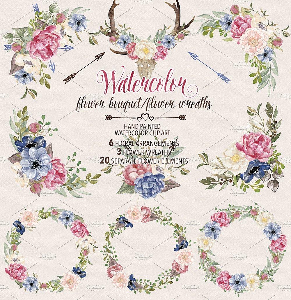 Watercolor flower wreaths/bouquets ~ Illustrations ~ Creative Market