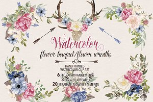 Watercolor flower wreaths/bouquets