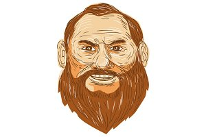 Man Bearded Face Retro