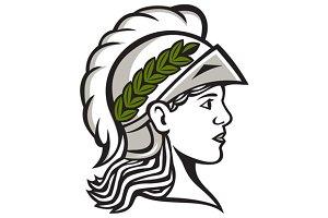 Minerva Head Side Profile Retro