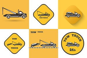 Set of tow truck icons