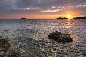 Beautiful sunset at the sea coast