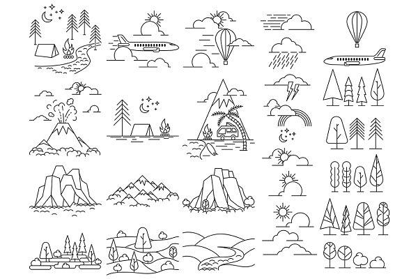 Nature line icon landscapes