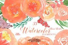 Orange Watercolor Florals Clipart