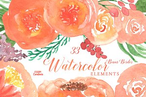 Orange Watercolor Florals Clipart