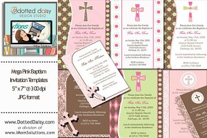 Pink Baptism Invitation Templates