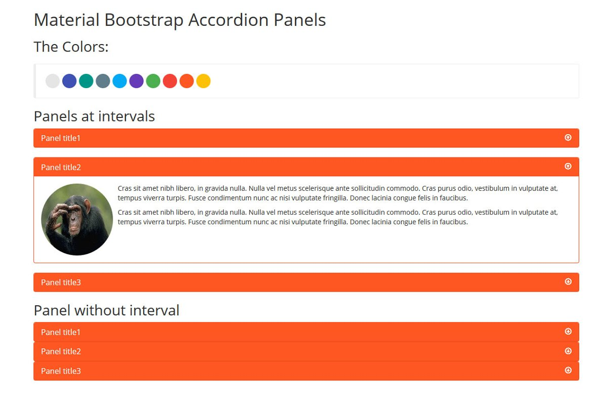 Material Bootstrap Accordion Panels ~ Bootstrap Themes ~ Creative Market