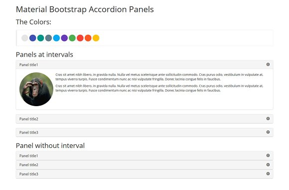 Material Bootstrap Accordion Panels