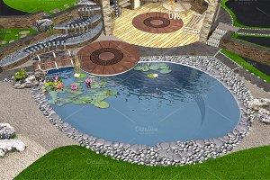Water garden aerial, 3d render