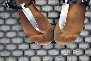 silver baboon sandals