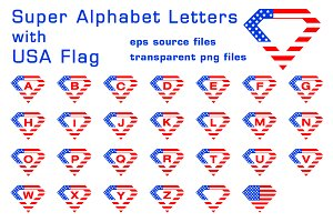 Super alphabet letters with USA flag