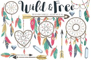 Boho Tribal Design Elements Clipart