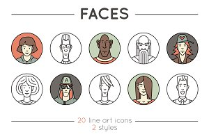 Faces. 20 Outline & Colored Icons