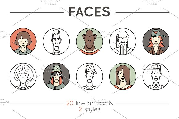 Faces. 20 Outline & Colored Icons - Logos