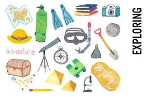 Exploring & Adventure Watercolors
