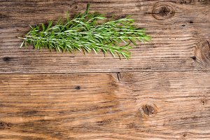 Fresh rosemary on table