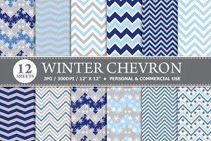 Winter Chevron Digital Paper