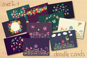 Doodle flowers. Three set in one!