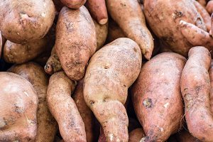 Sweet potatoes at the market