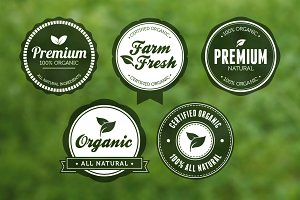"Circular ""Green"" Vector Badges Pack"
