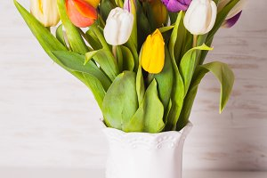 Color tulips in the vase