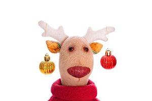 Handmade toy vintage Christmas deer