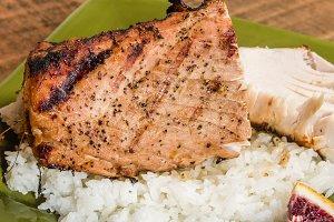 Tuna steak grilled and served