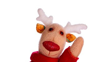 Handmade toy Christmas deer isolate