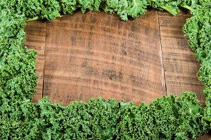 Kale leaves in frame
