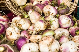 Display of turnips at the market