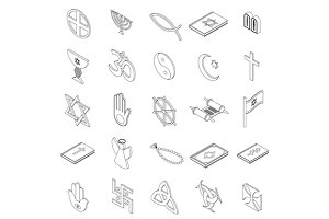 Religious symbols icons set