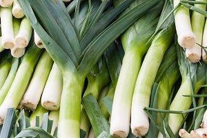 fresh leeks at the farmers market