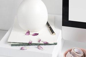 Floral Desktop with Notepaper