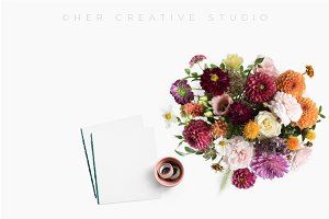 Fall Floral Desktop with Notepaper