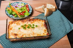 Baked lasagne in dish