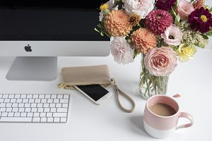 Floral Desktop with Desk Accessories