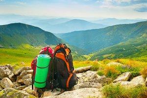 Bagpaks in the mountains