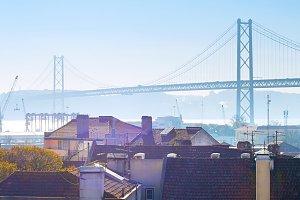 Lisbon buildings and bridge