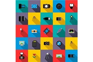 Photo studio equipment icons set