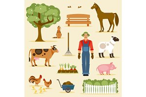 Farm. Vector set