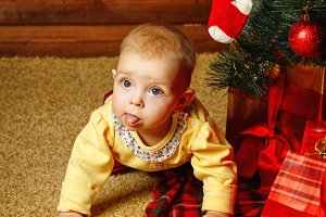 Baby gifts and Christmas tree
