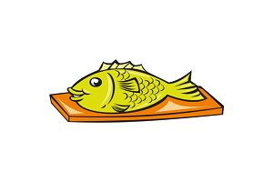 Fish On Chopping Board Cartoon