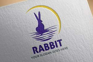 Rabbit Moon Logo Template